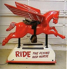 Mobil Oil Coin Operated Pegasus Ride.  My Grandfather owned a Mobil Service Station