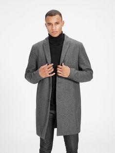 WOOL BLEND COAT, Dark Grey, large, PREMIUM by JACK & JONES