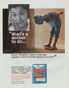 "Description: 1965 TOTAL CEREAL vintage magazine advertisement ""What's a mother to do"" -- What's a mother to do ... about vitamins ... with a teen-age daughter who's forever going on a diet? Serve ""total"" ... the only leading cereal with a whole day's vitamin supply -- Size: The dimensions of the full-page advertisement are approximately 10.5 inches x 13.5 inches (26.75 cm x 34.25 cm). Condition: This original vintage full-page advertisement is in Excellent Condition unless otherwise noted."