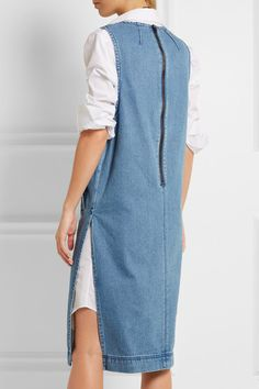 Blue stretch-denim Zip fastening along back  100% cotton Dry clean