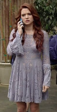 Karma's purple lace bell sleeve dress on Faking It.  Outfit Details: http://wornontv.net/38809/ #FakingIt