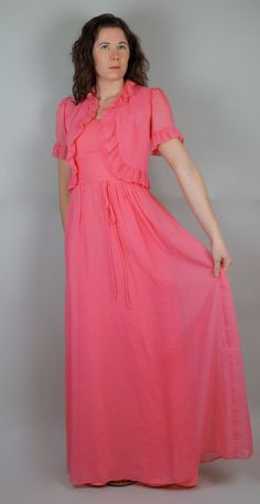 Vintage 60s House of Bianchi Bubblegum Pink Bridesmaid Maxi Dress with Matching Cropped Jacket. $85.00, via Etsy.