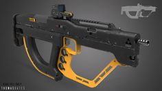 Design for an assault rifle.  initial design in 2D then modelled in MODO and finished in Photoshop.