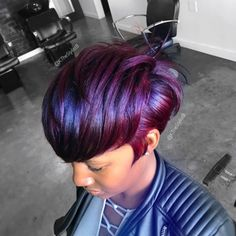 Purple hair is one of the hottest trends! Here are 10 ways to have FABULOUS purple hair! Older Women Hairstyles, Girl Hairstyles, Pretty Hairstyles, Black Hairstyles, Short Sassy Hair, Short Hair Cuts, Pixie Cuts, Bold Hair Color, Plum Color