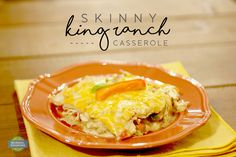 Skinny King Ranch Casserole - Only 245 calories per serving in this delicious casserole! Loaded with flavor and will actually leave you feeling full! King Ranch Casserole, Slow Cooker Recipes, Cooking Recipes, King Ranch Chicken, Skinny Ms, Dinners, Meals, Food Lists, Food Allergies