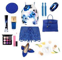"""Brunch Blues"" by raq-house-styles on Polyvore featuring Miguelina, New Look, JustFab, Hermès, Oscar de la Renta, NOVICA, Giorgio Armani, Yves Saint Laurent and MAC Cosmetics"