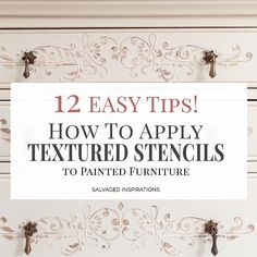 How To Apply Stencil Texture to Painted Furniture - Salvaged Inspirations Furniture Fix, Space Saving Furniture, Furniture Makeover, Painted Furniture, Refurbishing Furniture, Furniture Chairs, Furniture Vintage, Furniture Ideas, Furniture Design