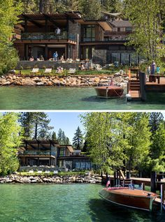 hotel exterior This modern lakeside club house features a ground-floor dining terrace and an expansive lawn that extends to the waters edge. Theres also an outdoor spa and a fire pit. Modern Lake House, Modern Mansion, Modern House Design, House By The Lake, Lac Tahoe, Classic Architecture, Pavilion Architecture, Sustainable Architecture, Dream House Exterior