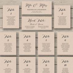 Wedding Seating Chart Template - Printable Seating Chart - Editable Table Plan - YOU edit in WORD - Rustic Seating Chart - Calligraphy style Rustic Seating Charts, Reception Seating Chart, Table Seating Chart, Wedding Reception Seating, Table Wedding, Wedding Ceremony, Seating Cards, Wedding Menu, Post Wedding