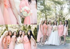 Pink and white bride & bridesmaids dresses - perfect or spring weddings!