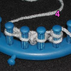 I was playing with the trim mentioned previously in my posts . This is the trim: Here is a quick how to: First, cast on 4 pegs: Knit o. Round Loom Knitting, Loom Knitting Stitches, Knifty Knitter, Loom Knitting Projects, Lace Knitting Patterns, Arm Knitting, Sock Loom, Loom Hats, Loom Crochet