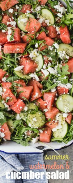 Watermelon is indisputably one of the most beloved summer fruits. Paired here with arugula, feta and a white balsamic and poppy seed vinaigrette, this SUMMER WATERMELON & CUCUMBER SALAD is sure to find it's way into your regular summer rotation!