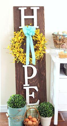 Easter wooden wreath sign- minwax easter mayartsribbon forsythia