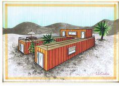 Maison faite de trois containers, deux de 28m² et un de 14m², ce qui fait une surface de 60m². La surface qui sépare les deux containers au sol mesure la largeur d'un container, On peut alors joindre les deux containers par une cloison de verre sous le...