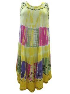 Yellow Women's Tie Dye Caftan Tank Dress Cover Up Boho Skirts, Yellow Dress, Tank Dress, Simple Style, Party Wear, Tie Dye Skirt, Boho Chic, Feminine, Summer Dresses