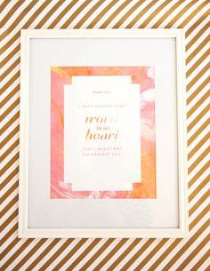 Bible Verse Art Print - Hidden Your Word in my Heart - 8.5x11