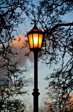Lit Old Streetlamp At Sunset In Argentine Stock Photo, Picture And Royalty Free Image.