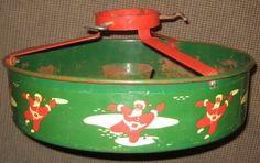 Vintage Nesco Metal Christmas Tree Stand Santa Claus Motif