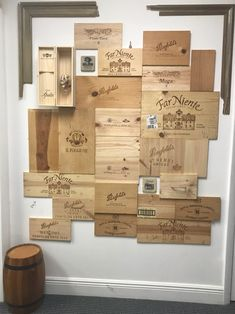 Wine crate wall designed by Rosa Murphy. Napa Valley, Game Room Basement, Basement Inspiration, Coffee Carts, Wine Wall, Basement Renovations, Wood Creations, Wine Time, Wooden Walls
