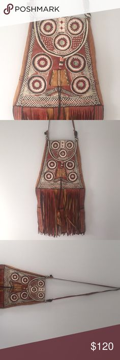 Ethnic tribal artisan bag purse African handmade Epic true antique. Made of hand stitched, naturally dyed leather. It's origin is Africa, looks to have a Northern African tribal style. Lightweight, functioning purse Vintage Bags Crossbody Bags