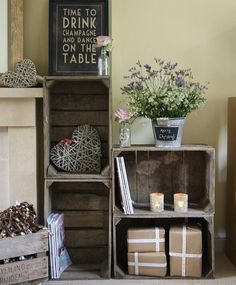 Vintage Wooden Fruit Crates...cute idea for all those clementine crates!!