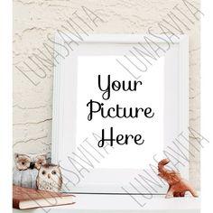 Styled Stock Photography, Frame Mockup, White Frame, Your Photo Here, Owls, Elephants, Product Shot, Listing by LunaSavita on Etsy