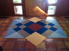 Frank Lloyd Wright inspired entry rug in HOUSE PET!  #MYFLOR Carpet Squares, Diy Rugs, Carpet Tiles, Lloyd Wright, Front Entry, Animal House, Craftsman Style, Entry Rug, Free Design
