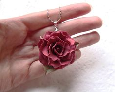 "Polymer clay red rose pendant "" Flamenco"". Polymer clay jewelry"