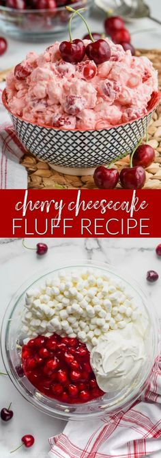 This Cherry Cheesecake Fluff is such a simple recipe that makes such a great and delicious dessert for summer get togethers! This Cherry Cheesecake Fluff is such a simple recipe that makes such a great and delicious dessert for summer get togethers! Fluff Desserts, Cherry Desserts, Cherry Recipes, Jello Recipes, Fruit Salad Recipes, Köstliche Desserts, Fudge Recipes, Delicious Desserts, Yummy Food