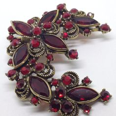 Signed WEISS Vintage FLOWER SPRAY BROOCH PIN Ruby Red Rhinestone Gold Tone #Weiss #Vintage