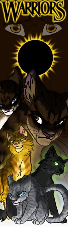 Me: Power Of Three Bookmark. From bottom to top the cats are: Jayfeather, Hollyleaf, Lionblaze, Brambleclaw, Hawkfrost, and the eyes at the top is I think Leafpool.