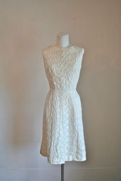 vintage 60s embroidery dress  WINTER WHITE wedding dress by MsTips, $48.00