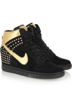 NikeSky Hi Dunk in black suede & metallic gold