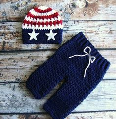 Patriotic Star Spangle Banner Handmade Crochet Set Photography Prop