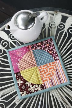 "I gotta make some ""mug rugs""! This one is fabulous....made from my favorite fabric collection Hope Valley by Denyse Schmidt."