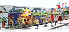 Hanoi, Vietnam. Mural mas largo del mundo, 2 millas