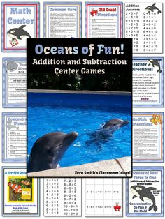 Oceans of Fun with Addition and Subtraction Center Games Concentration, Go Fish and Old Maid for Common Core State Standards $Paid #TPT