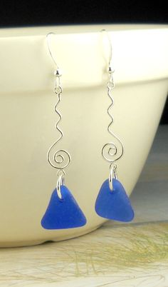 Eco Friendly Sterling Silver Genuine Cobalt Blue Sea Glass Earrings. $40.00, via Etsy.