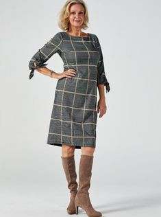 This scuba dress from Ronni Nicole features a round neckline, 3/4 length sleeves with tie cuff details and an all-over plaid print. Add a touch of sophistication to your wardrobe with this versatile dress, which can be styled with any of your favourite shoes and jewellery for countless chic outfits. Qvc Uk, Ronni Nicole, Scuba Dress, Crepe Dress, Chic Outfits, Cold Shoulder Dress, Dresses For Work, Neckline, Plaid