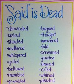 "Encourage descriptive writing with these alternatives to ""said"". Can change the words ever so often. English Writing Skills, Book Writing Tips, Writing Words, Writing Workshop, Readers Workshop, Essay Writing, Writing Lessons, Writing Notebook, Creative Writing Quotes"