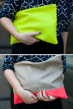 grey with neon pink stripe clutch