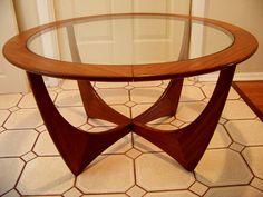 "Vtg. Danish Modern Teak & Glass Coffee Table 32"" Round #DanishModern"