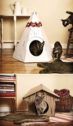 Loyal Luxe makes teepees and cabins for cats out of recycled cardboard.  As much as my cats love boxes, they'd probably love these.