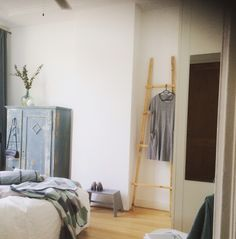 Bedroom pale blue & greys
