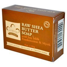 Nubian Heritage, Raw Shea Butter Soap, With Soy Milk, Frankincense & Myrrh, 5 oz (141 g) - iHerb.com