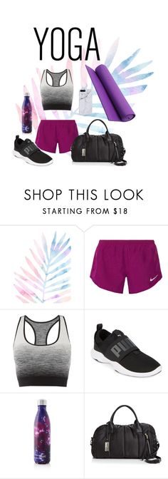 """Lavender Yoga"" by plinker ❤ liked on Polyvore featuring NIKE, Pepper & Mayne, Puma, S'well and Sol & Selene"