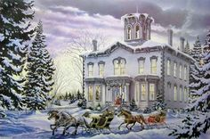 Jigsaw Puzzles - Christmas At Kilbride Easy Handling Puzzle by Cobble Hill) Christmas Jigsaw Puzzles, Christmas Puzzle, Christmas Art, Vintage Christmas, Christmas Greetings, Christmas Ideas, Christmas Houses, Christmas Postcards, Christmas Projects