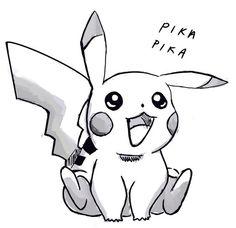 Black and white version of the pikachu sketch Pikachu Tattoo, Pikachu Drawing, Pikachu Art, Cute Pikachu, Pikachu Nails, Animal Sketches, Drawing Sketches, Art Drawings, Pikachu Makeup