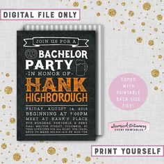 ♥ Bachelor Party Invitation - Black Leather & Beer ♥  Get the guys together for your last big night with our Leather & Beer printable