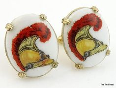 Very unique pair of military inspired cufflinks. Vintage Swank 1950s/60s Cuff links with Military Helmets on Porcelain | The Tie Chest